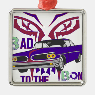 bad to the bone Silver-Colored square ornament