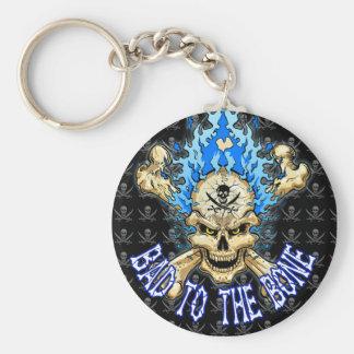 Bad to the Bone Skull Basic Round Button Keychain