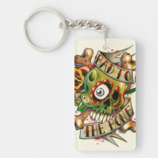 Bad to the bone skullies! Double-Sided rectangular acrylic keychain