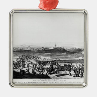 Badajos During Siege of  engraved Charles Silver-Colored Square Ornament