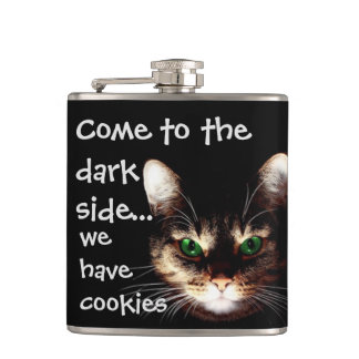 "Badass Cats - ""The Dark Side Has Cookies"" Hip Flask"