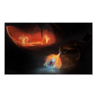 Badass dragon fight in a cave poster