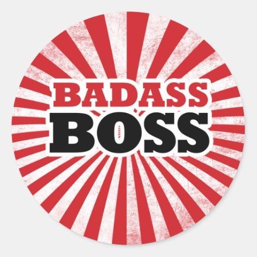 Badass Funny Boss Round Sticker