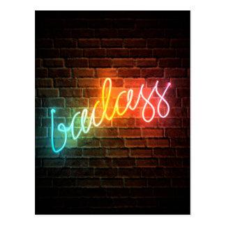 Badass Rainbow Neon Sign Postcard