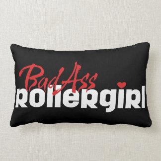 BadAss Roller Girl, Roller Derby, Skating Lumbar Pillow