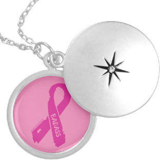 Badass/ torn ribbon...Breast Cancer Silver Plated Necklace