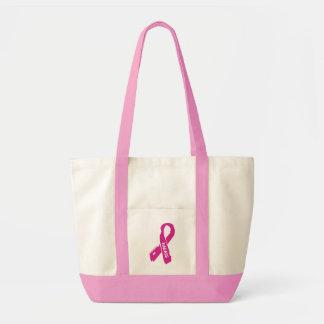 Badass/ torn ribbon...Breast Cancer Tote Bag