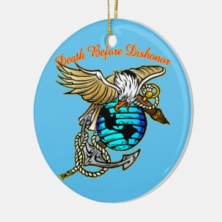 Badazz Eagle Death Before Dishonor Ceramic Ornament