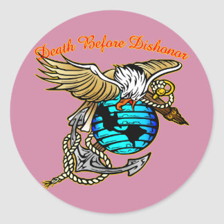 Badazz Eagle Death Before Dishonor Classic Round Sticker
