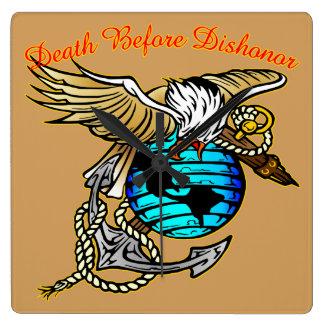 Badazz Eagle Death Before Dishonor Square Wall Clock