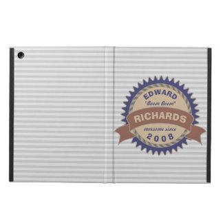 Badge Banner Monogram Brown Blue Gray Logo Stripes Cover For iPad Air