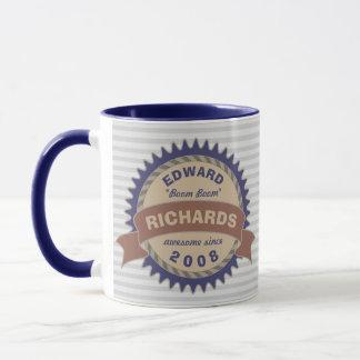 Badge Banner Monogram Brown Blue Gray Logo Stripes Mug