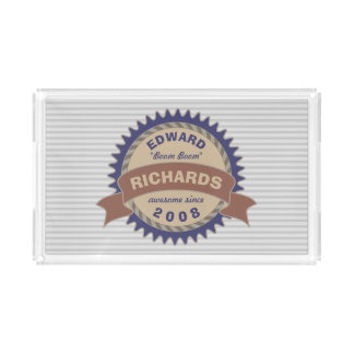 Badge Banner Monogram Brown Blue Logo Gray Stripes Acrylic Tray