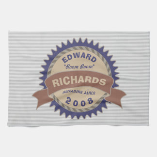 Badge Banner Monogram Brown Blue Logo Gray Stripes Kitchen Towel