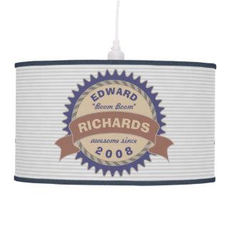 Badge Banner Monogram Brown Blue Logo Gray Stripes Pendant Lamp