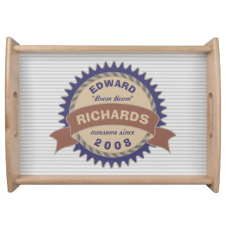Badge Banner Monogram Brown Blue Logo Gray Stripes Serving Tray