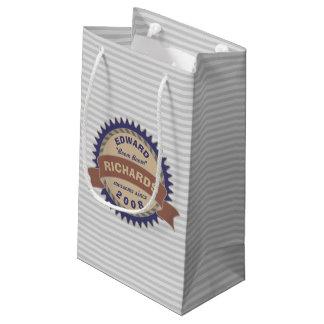 Badge Banner Monogram Brown Blue Logo Gray Stripes Small Gift Bag