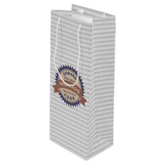 Badge Banner Monogram Brown Blue Logo Gray Stripes Wine Gift Bag