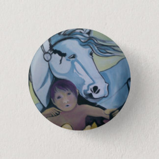Badge: Cupid and his horse. 1 Inch Round Button