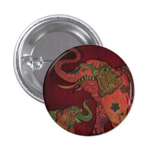 Badge: Indian elephant. 1 Inch Round Button