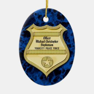 Badge Marble Police Graduation/Retirement Party Ceramic Ornament
