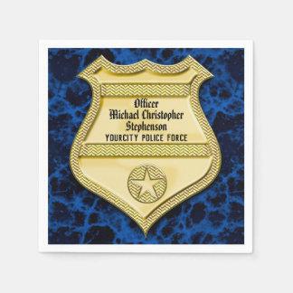 Badge Marble Police Graduation/Retirement Party Disposable Napkins