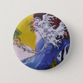 Badge of a painting inspired by Hokusai 2 Inch Round Button