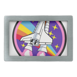badge patch pink rainbow rocket belt buckle
