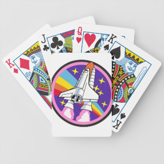 badge patch pink rainbow rocket bicycle playing cards