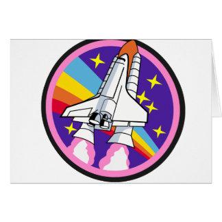 badge patch pink rainbow rocket card