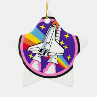 badge patch pink rainbow rocket ceramic ornament