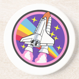 badge patch pink rainbow rocket coaster