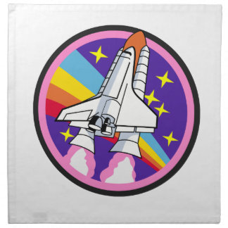 badge patch pink rainbow rocket napkin