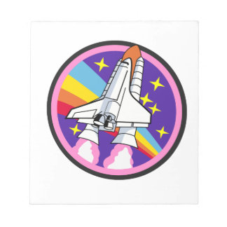 badge patch pink rainbow rocket notepad