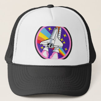badge patch pink rainbow rocket trucker hat