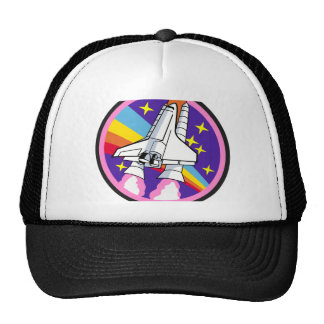 badge patch pink rainbow rocket trucker hat