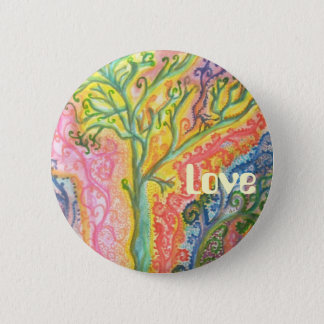 """Badge with Colourful Tree Design and """"Love"""" 2 Inch Round Button"""