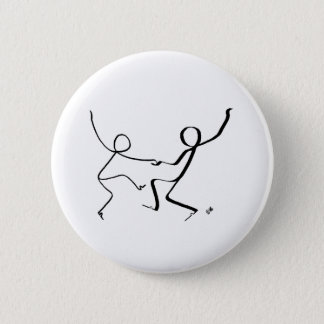 Badge with two Jitterbug dancers. 2 Inch Round Button