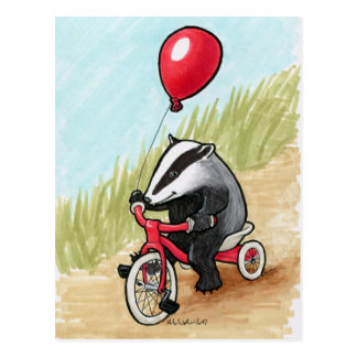Badger at Play postcard