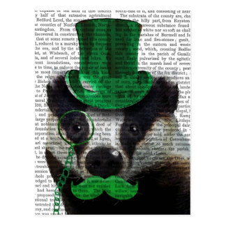 Badger with Green Top Hat and Moustache Postcard