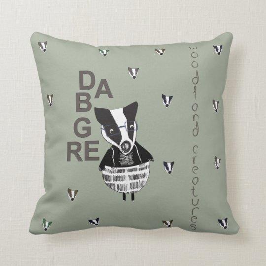 Badger Woodland Creature Throw Pillow