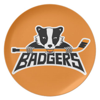 Badgers Hockey Logo Dinner Plates