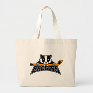 Badgers Hockey Logo Large Tote Bag