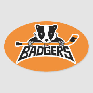 Badgers Hockey Logo Oval Sticker