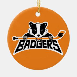 Badgers Hockey Logo Round Ceramic Ornament