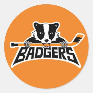 Badgers Hockey Logo Round Sticker