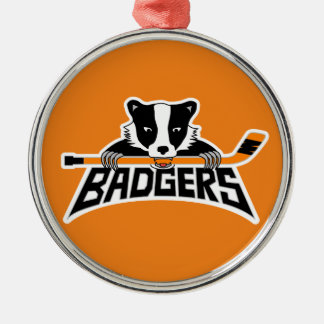 Badgers Hockey Logo Silver-Colored Round Ornament