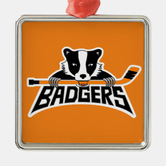 Badgers Hockey Logo Silver-Colored Square Ornament