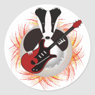 Badgers rock save the badger round sticker
