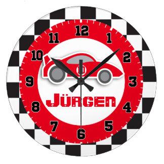 Badine l'horloge murale de nom de drapeau quadrill